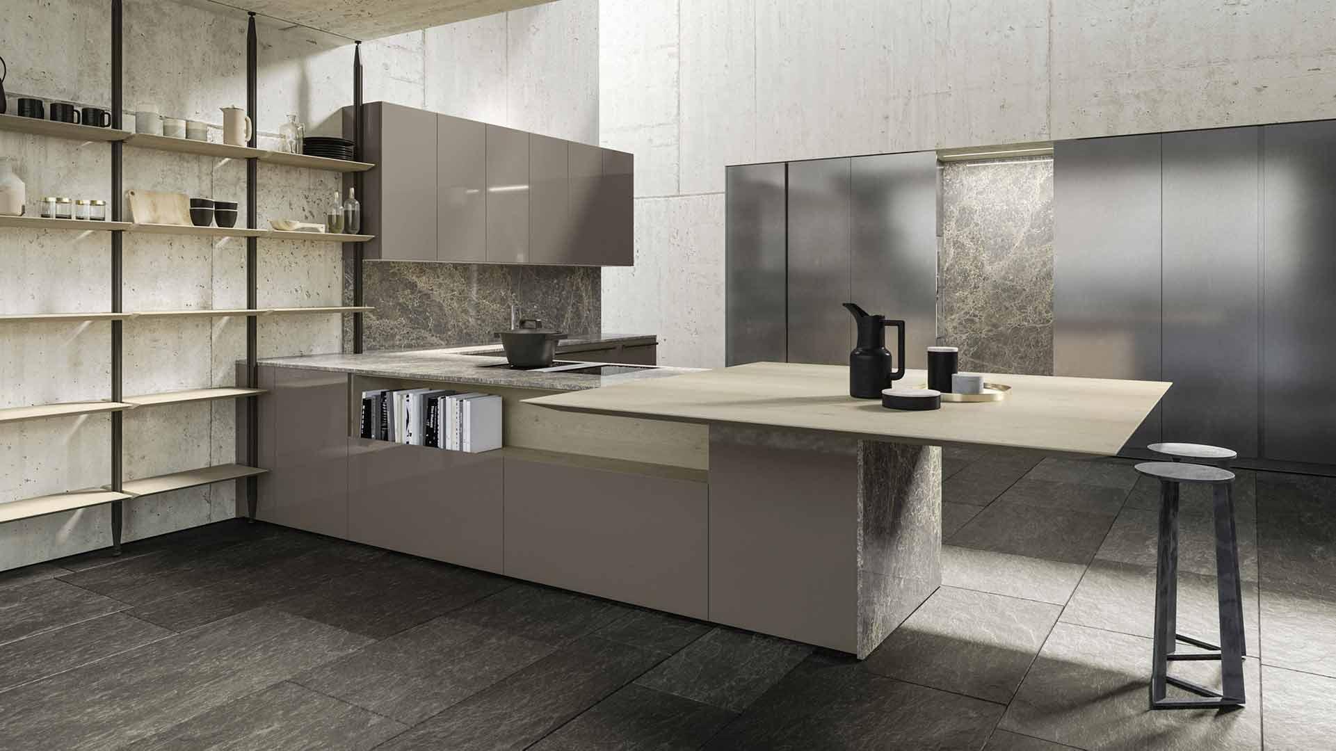 Cucina Grigio Beige & Acciaio Ossidato