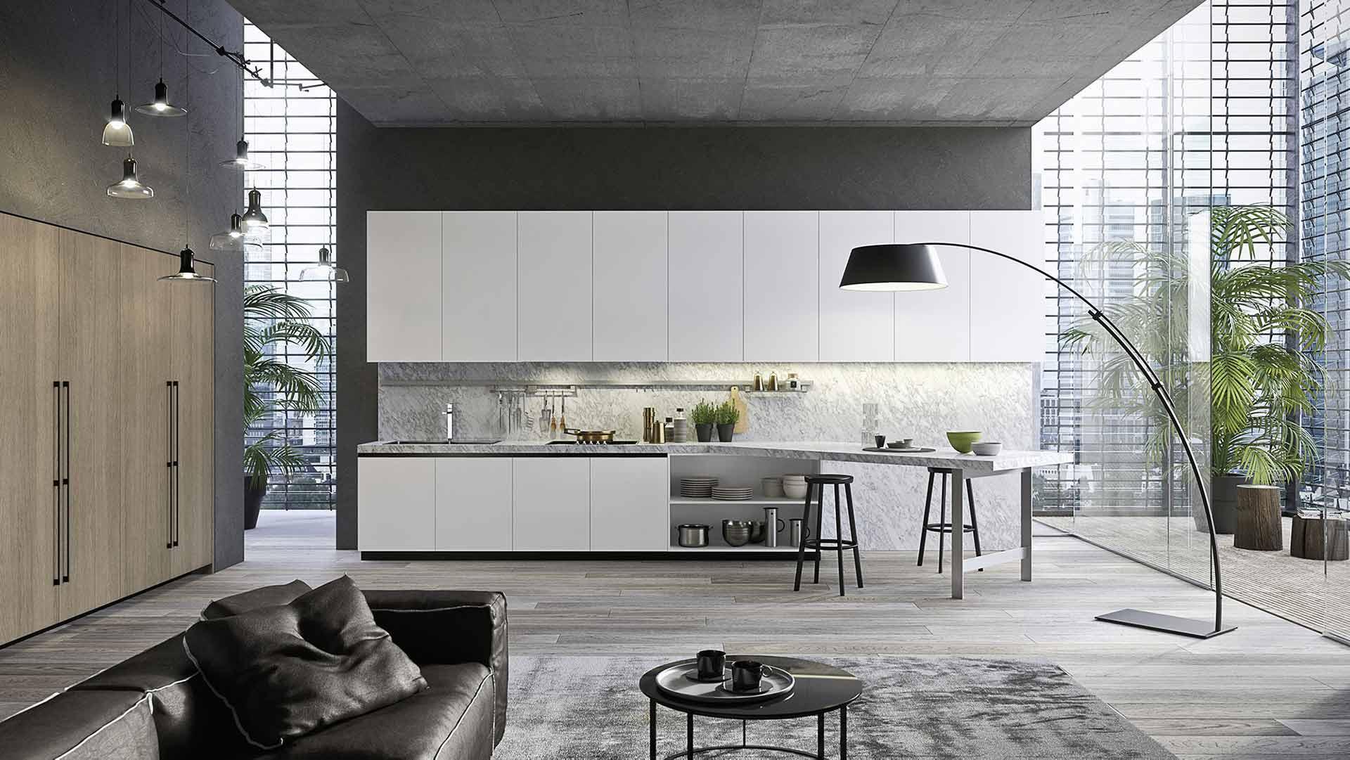 Cucina Laccato Bianco & Rovere Canapa