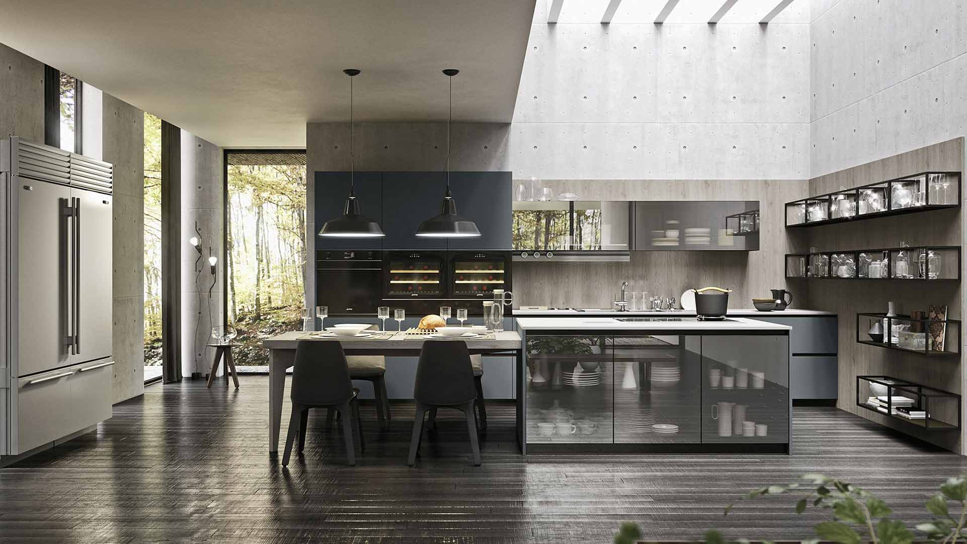 Cucina Grigio Océano & Vetro Stopsol
